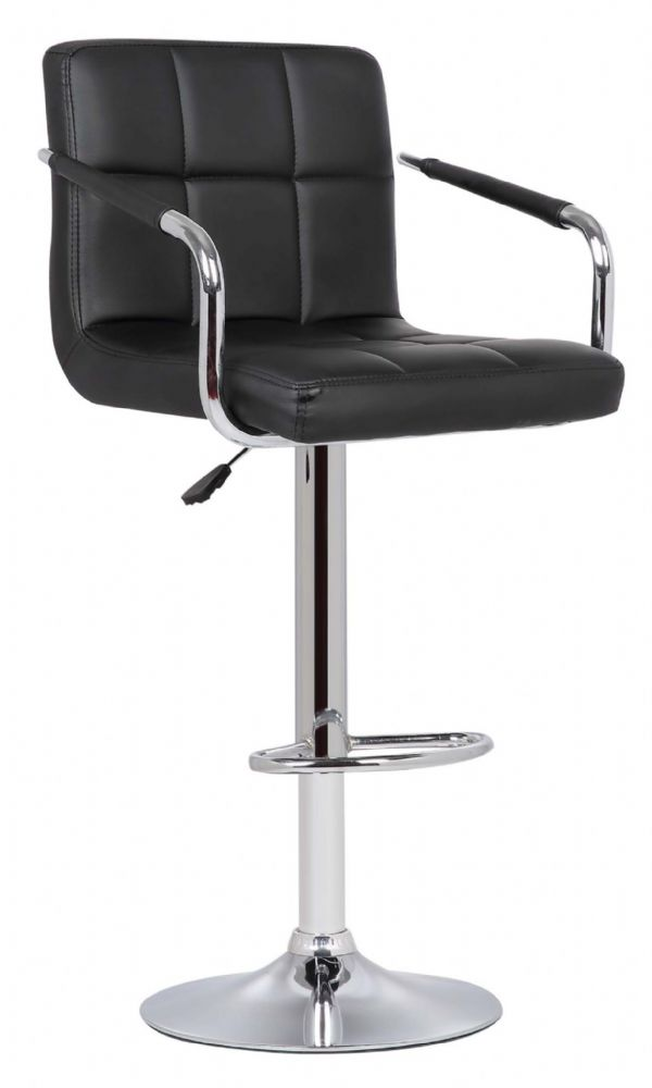 1 Milan Black Faux Leather Padded Seat Bar Stool With Arms